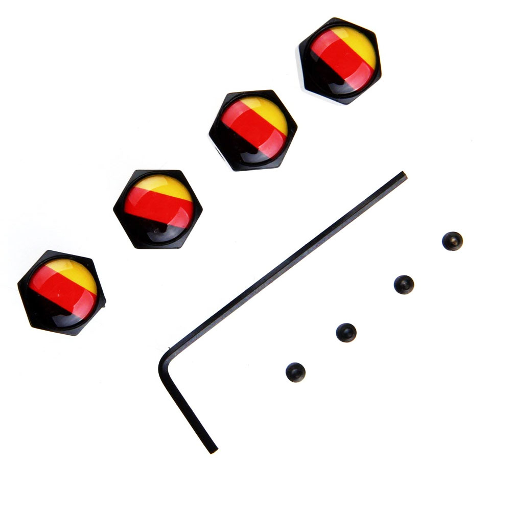 4Pcs/Set Classic German Flag Anti-theft Chrome Car Wheel Tire Valve Stem Cap For Car/Motorcycle,Air Leakproof And Protection You