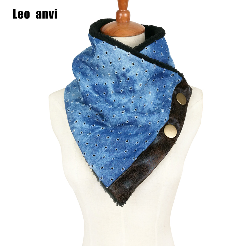 Leo Anvi 2017 Designer Scarf Women High Quality Brand Femme Rings Buckles Denim Hollow Double Thick Ladies Winter Infinity Scarf