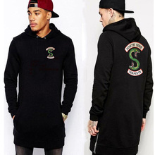 Fashion Hem Both sides zipper Lengthen Hoodie Sweatshirt Hip hop Streetwear Autumn Winter Riverdale Southern snake hoodies men