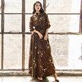 ВЫСОКОЕ КАЧЕСТВО Новые 2017 Дизайнер Maxi Dress женская С Длинным Рукавом Кнопки Shirt Dress Long Dress Размер S-XXL