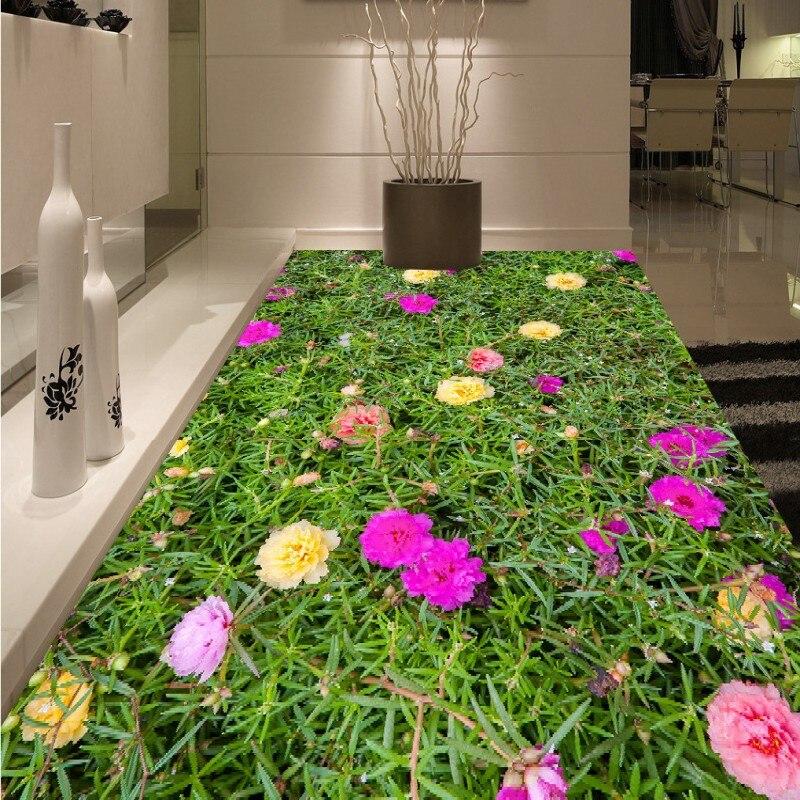 Free shipping custom Beautiful floral flower flooring moisture proof self-adhesive 3d wallpaper floor bedroom living room