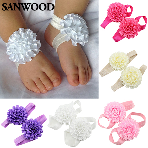 2Pcs Baby Infant Toddler Girl Ribbon Flowers Barefoot Sandals Sock Toe Shoes 9IH1