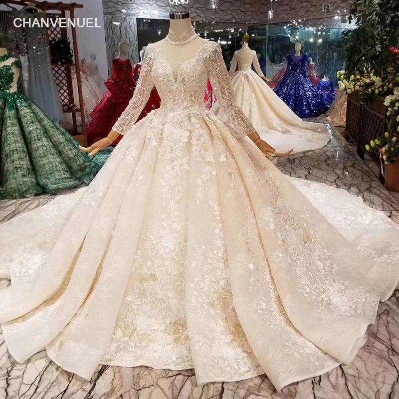 LSS445 luxury muslim wedding dresses high neck long tulle sleeves beaded wedding  gowns 2019 lace flowers long train bridal dress 03bb984c3ce1