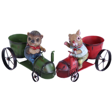 VILEAD 10.2'' Iron Hedgehog and Rabbit Figurine Wine Rack Resin Animal Driving Tractor Model Wine Holder Lovely Home Decoration fashion quality rose household wine rack baijiu home decoration iron wine holder