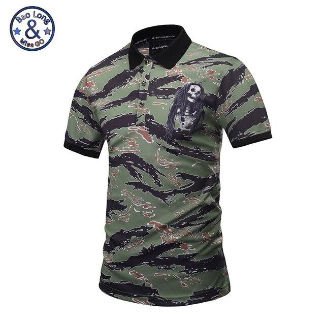Mr Baolong Brand New Polo Shirt Men Summer Style 2017 Skull Logo