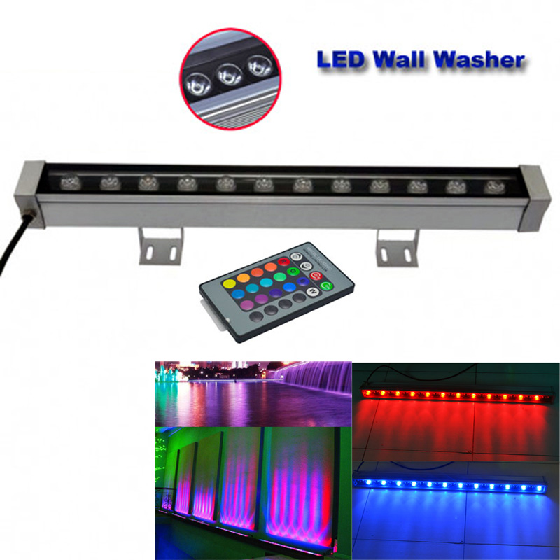 2pcs/lot 12W LED wall washer lights,RGB and single color  Led outdoor light, DC 12V,IP65 waterproof  0.5M length dc 24 v 36w rgb led wall washer light full color 1200 70 71mm