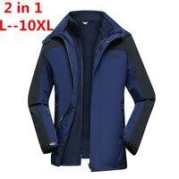 Большие размеры 10XL 8XL 6XL 2 в 1 Fit куртка бренд Водонепроницаемый ветровка куртка зимняя куртка Для мужчин мужской пальто куртка дождевик парка