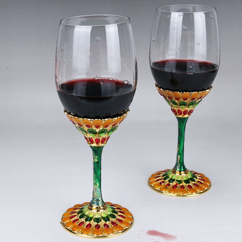 cup classic pattern wedding on the cup of high - foot wine cup in Europe and the United States wind  high foot cup