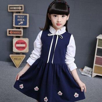 e217dcd41 Dos colores bebé niñas vestido de primavera nueva versión coreana para niños  princesa Vestido de manga larga vestido de noche 3-12 años