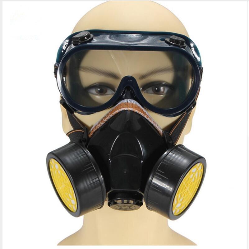 Фильтр защиты двойной анти-пыли Краска в баллоне-распылителе Промышленные Химическая газа Респиратор маска очки набор черный Новые Высоко...