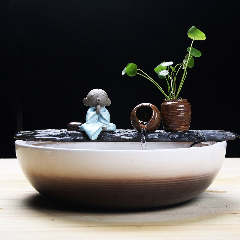 Ceramic Lucky Feng Shui Wheel Decoration Fish Pond