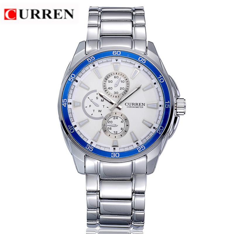 Prix pour CURREN 8076 Casual Chronomètre À Quartz avec Cadran Rond/Cadrans Intégrés/Bande Scale-Bleu