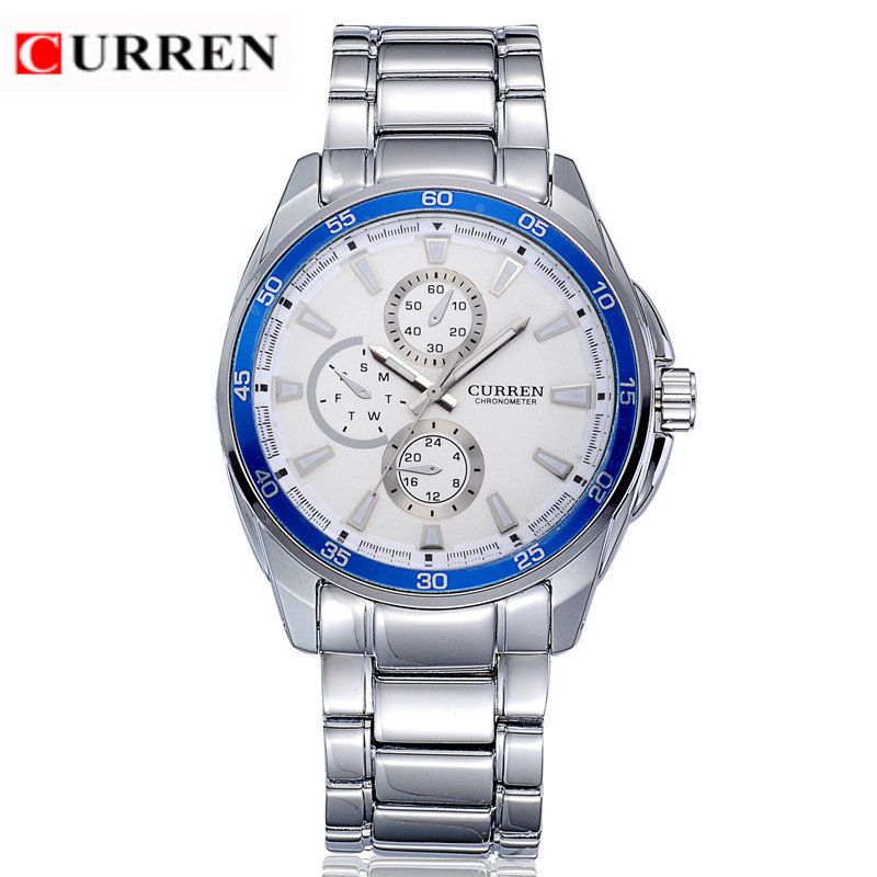 CURREN 8076 Casual Chronometer Quartz Watch with Round Dial/Embedded Dials/Strip Scale-Blue стоимость