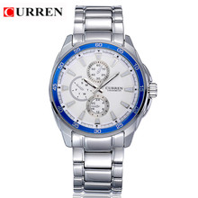 CURREN 8076 Casual Chronometer Quartz Watch with Round Dial/Embedded Dials/Strip Scale-Blue