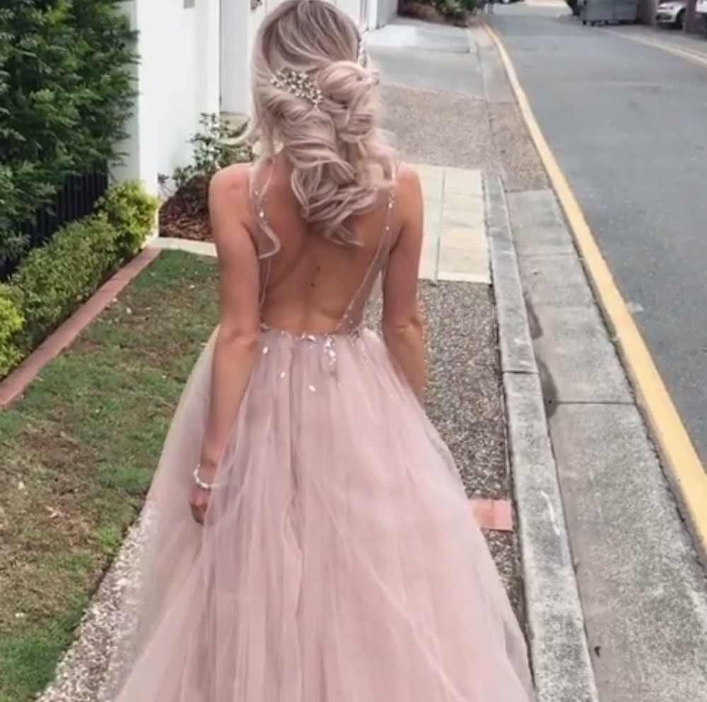 Vestidos de graduación largos de tul Sexy 2019 nueva llegada sin espalda barrido tren con cuentas una línea ocasión especial vestidos de noche personalizados hechos