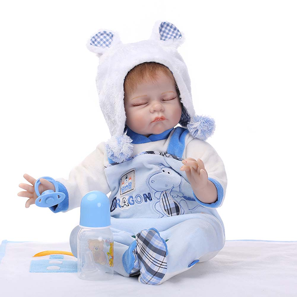 NPK 55cm Lifelike Silicone Reborn Doll Set Sleeping Baby Newborn Dolls for Kids Playmate Gift BM88 купить в Москве 2019