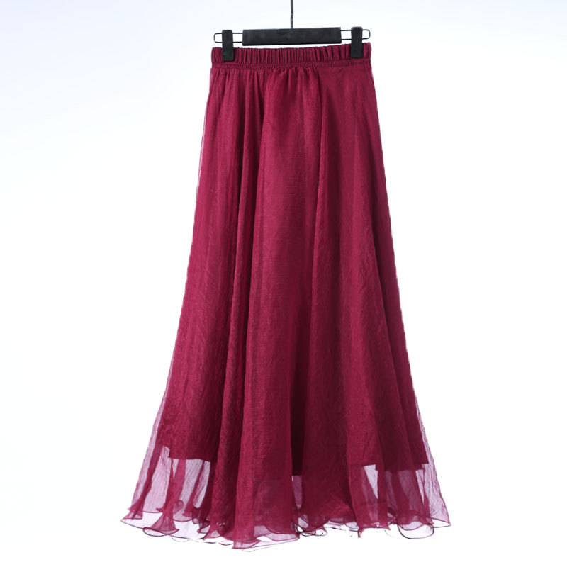Sherhure 19 High Waist Women Chiffon Long Skirts Floor Length Ruffles White Summer Boho Maxi Skirt Saia Longa Faldas 44
