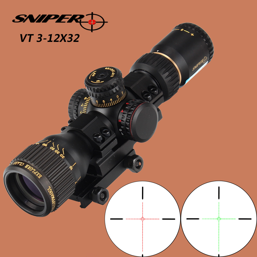 SNIPER VT 3-12X32 Hunting Compact Optical Sight Tactical Riflescope Glass Etched Reticle Red Green llluminate Rifle Scope zos 3 12x44e hunting rifle scope r29 glass etched reticle red green illuminated riflescope tactical optical sight free shipping