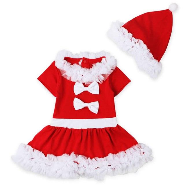 da05bf526b74c Tenues d anniversaire de noël pour bébé fille dentelle ensemble vêtements  chapeau + blanc fête