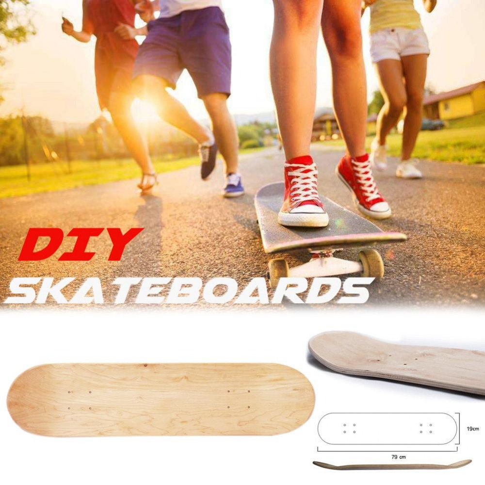 8 Inch 8-Layer Maple Blank Skateboard Deck Skate Boarddouble Concave Kick Decks Skate Board Rough Sandpaper for Longboard DIY