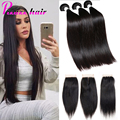 8A Grade Brazilian Virgin Hair With Closure Brazilian Straight Hair With Closure Mink Brazilian Hair With Closure Pizazz Hair
