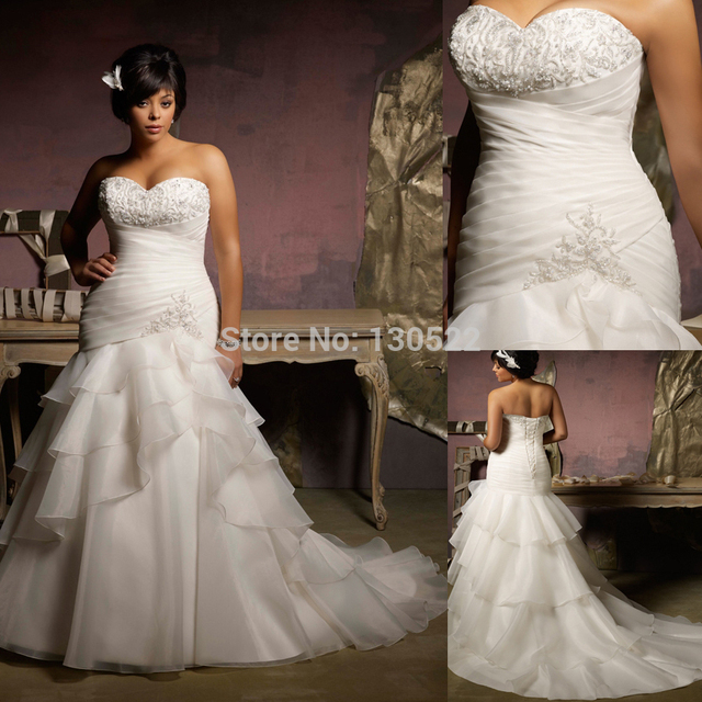 Plus Size Wedding Gown Patterns: Elegant Strapless Beaded Bust Tiered Ruffled Skirt Plus