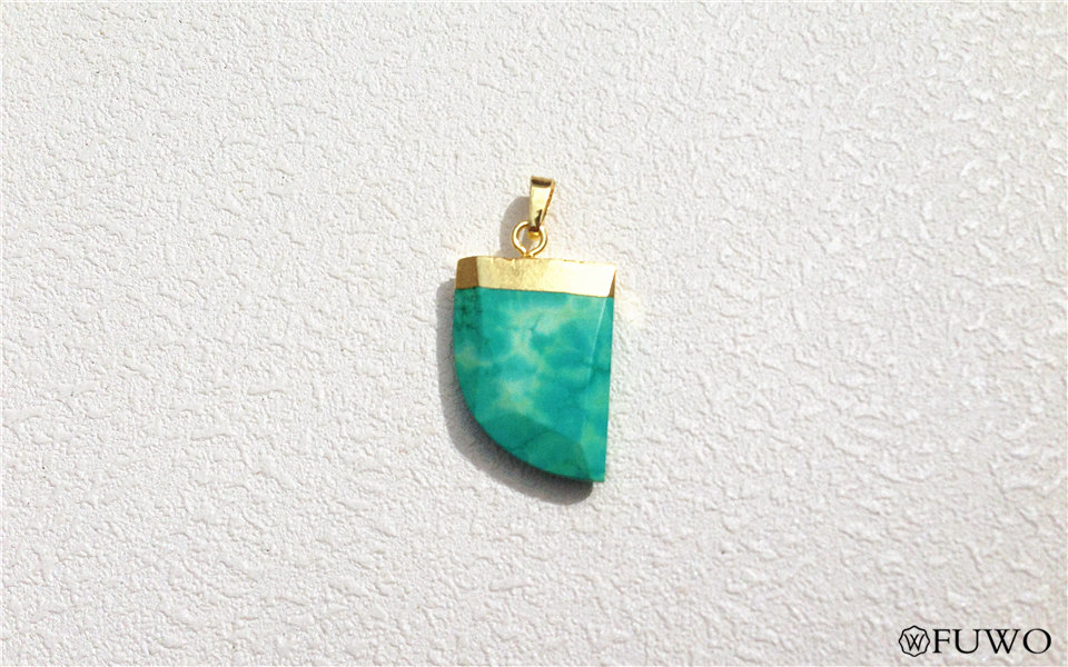 JMSLondonCo 1 x Turquoise Tusk Pendant by Jewellery Making supplies London 1 x Gold Electroplated Gemstone Pendant