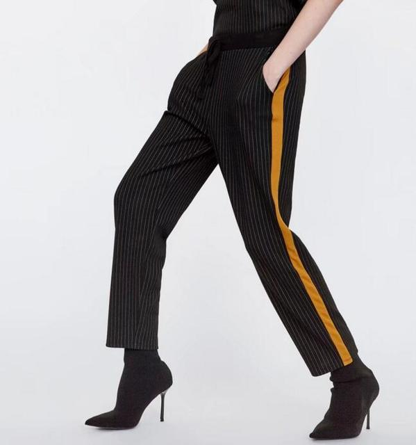 Women Plaid Striped Pant with Elastic Waist Ribbons edging Work Pants Female Causal Plaid Trousers