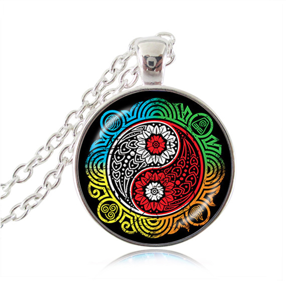 Buy Avatar The Last Airbender necklace ying yang pendant Restore Balance Necklace white red cross pendant silver glass dome jewelry for $2.39 in AliExpress store
