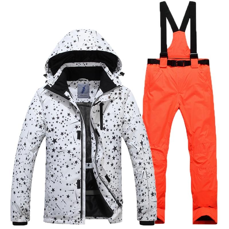 2018 Skiing Warm Jacket +Pants Men's Winter Outdoor Breathable Free Shipping Double Board Ski Wear Windproof Suit Ski