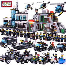 GUDI City Special Police Command Center Patrol Helicopter Car Toy Building Blocks Bricks Educational Toys for Children Gifts