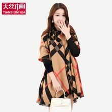 2016 Knitting font b Tartan b font Plaid Winter Pashmina scarf Poncho Women Mandala Blanket Lady