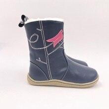Tipsietoes marca superior descalço couro genuíno do bebê da criança menina crianças sapatos para a moda inverno botas de neve livre shippingild