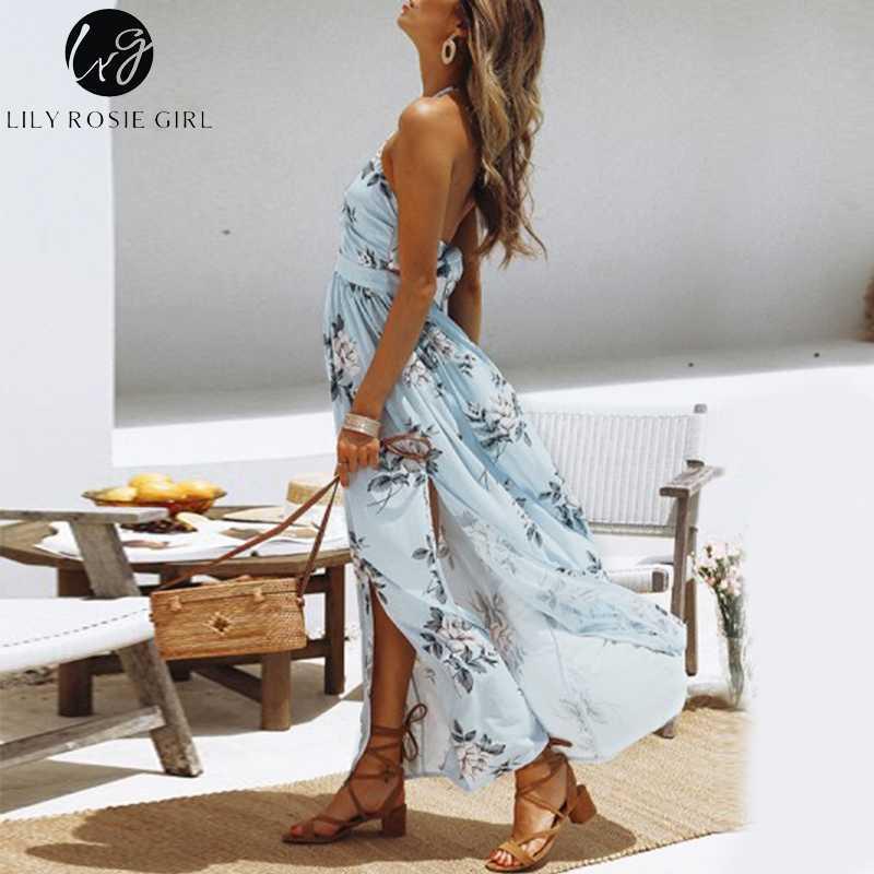 Conmoto Шифоновое пляжное платье с открытой спиной, длинное платье с бантом, сексуальное платье с v-образным вырезом, платье с разрезом, платье с цветочным принтом
