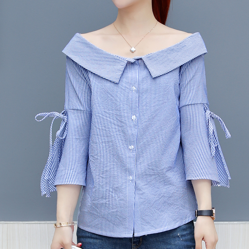 New Korean Lady Fashion Striped Shirts Plus Size S-3XL Blue Color Peter Pan Collar Style Women Casual Office Blouses