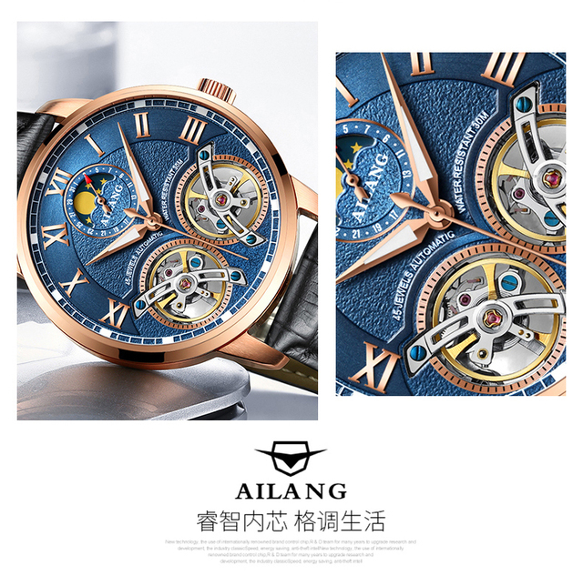 Double Tourbillon Switzerland men Watches AILANG Automatic Watch men Self-Wind Fashion Mechanical Wristwatch Leather clock reloj