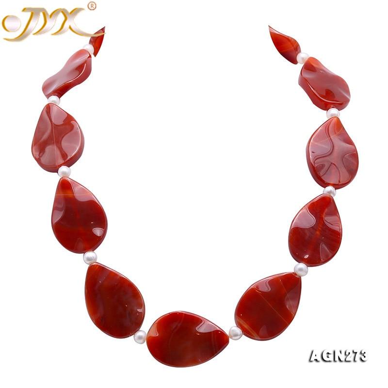 Fashion Elegant 23*35mm Nature Red Irregular Agate Gemstone Beads Necklace Women Jewelry 18inches
