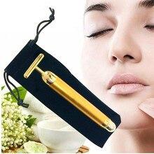 Для похудения лица 24 К золотой вибратор лицевой валик для красоты массажер карандаш для лица Подтяжка кожи против морщин бар с черным мешком