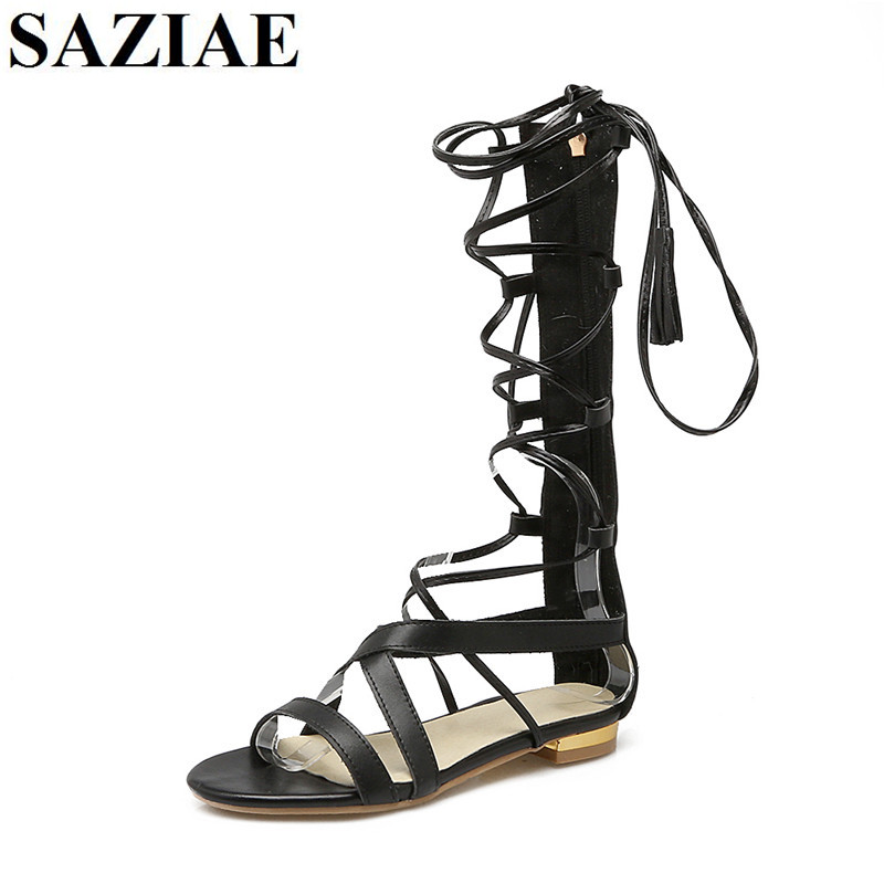 Hot Rome Shoes Woman Knee High Gladiator Sandals Biggest Size 33-45 Pig Leather Summer Open Toe Women Flip Flops Flat Sandals 2017 gladiator sandals women bohemia bead summer sandals ladies open toe flip flops low heel beach shoes rubber soles size 35 40