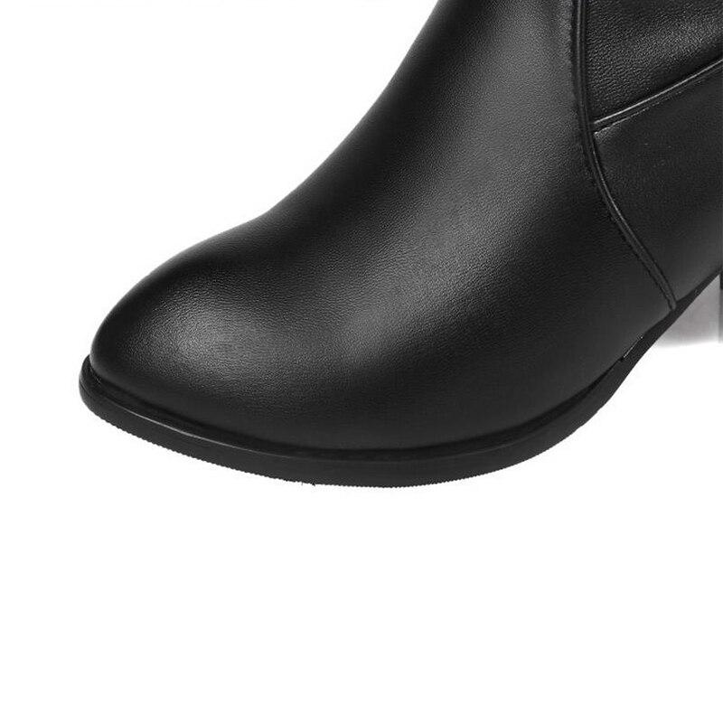4903a2def TAOFFEN Clássico Mulheres Sobre Botas Até O Joelho Dedo Do Pé Redondo  Mulher Quadrado Botas de salto Feminino De Alta Qualidade da Pele Quente  Sapatos ...