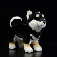 1pc 28cm simulation Cute Realistic Japanese Black Shiba Inu Lifelike Plush Toy Stuffed Animal Soft Toy Shiba Puppy Dog Doll