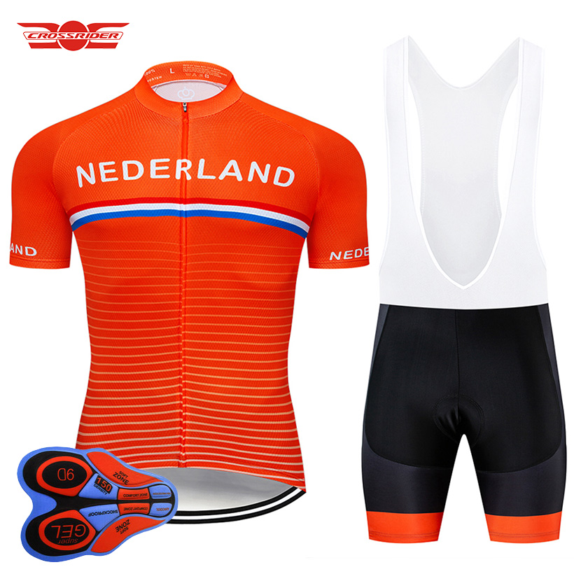 Crossrider 2019 Team Nederland Cycling Jersey MTB bike Clothing Men Short Set Ropa Ciclismo Bicycle Wear Clothes Maillot Culotte