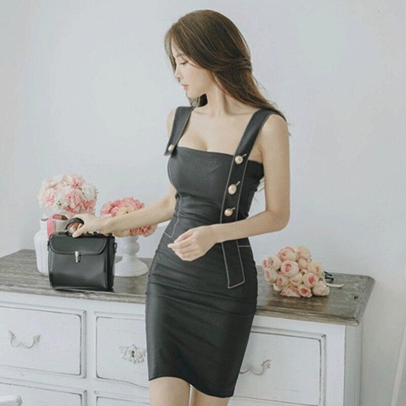 2018 Summer Strap Women Cloth Sleeveless Black Button Mini Bodycon Brief Sexy Club Dress