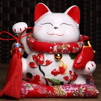 new 10 inch fortune cat genuine gold large Japanese ceramic piggy bank for the opening opened living room small ornaments