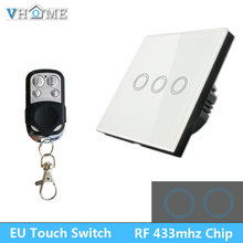 Vhome Smart Touch Switch,RF 433mhz Home Switch Panel,EV1527 EU/UK Standard Wall panel