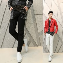 males's style character informal pants Korean Slim toes rivet punk costumes nightclub embroidered flares pants