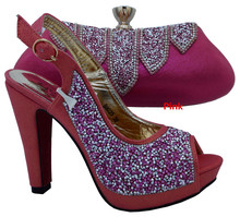 African shoe and bag set with Peep toe Italian matching shoes and bags set for wedding women dress Pink color size 38-42