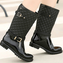 2018 fashion quality  new water rain shoes warm womens plaid hunter lady boots in the ladys rainboots