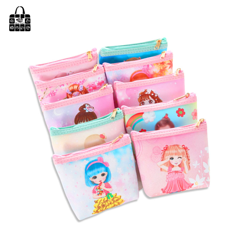 Rose Diary Fashion Lovely Beauty Printed Girl Coin Purse Female Key Bag Fashion Fresh PU Portable Clutch Key Bag Small Gifts