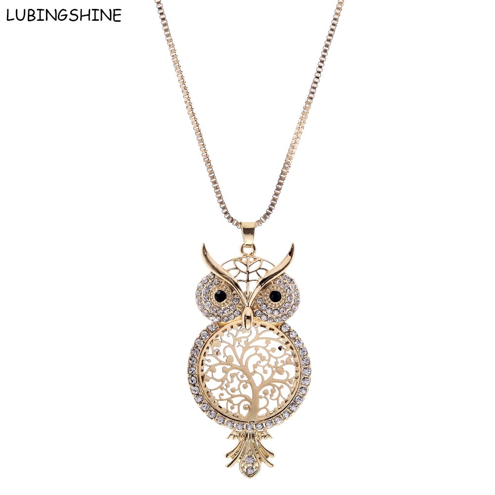 LUBINGSHINE Crystal Sweater Chain colar collier Cute Owl Hols